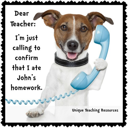 dog ate student's homework excuse