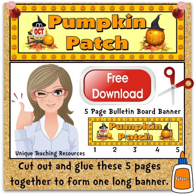 Download Free Halloween Pumpkin Patch Bulletin Board Display Banner