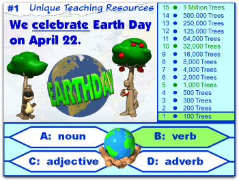 Earth Day 4 parts of speech powerpoint lesson