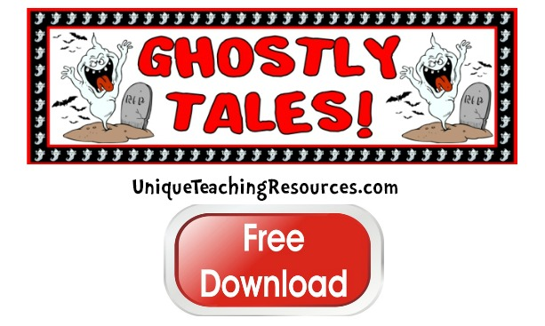 Click here to download this free Halloween Ghostly Tales bulletin board display banner.
