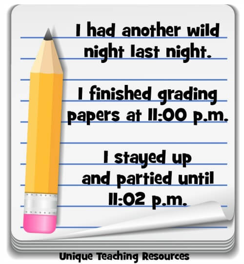 Funny teacher saying about grading papers.