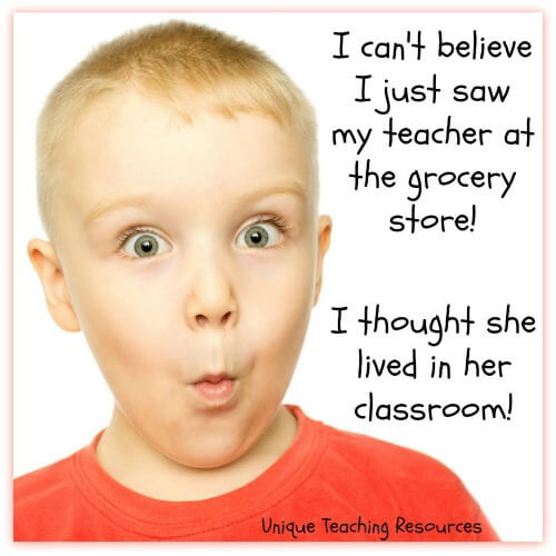 Surprised student sees teacher at grocery store.