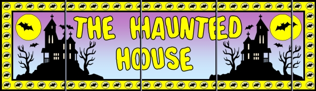 Assemble these 5 pages together to create a free Halloween haunted house bulletin board display banner for your classroom.