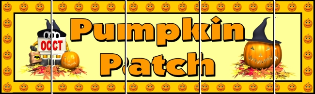 Assemble these 5 pages together to create a free Halloween pumpkin patch bulletin board display banner for your classroom.