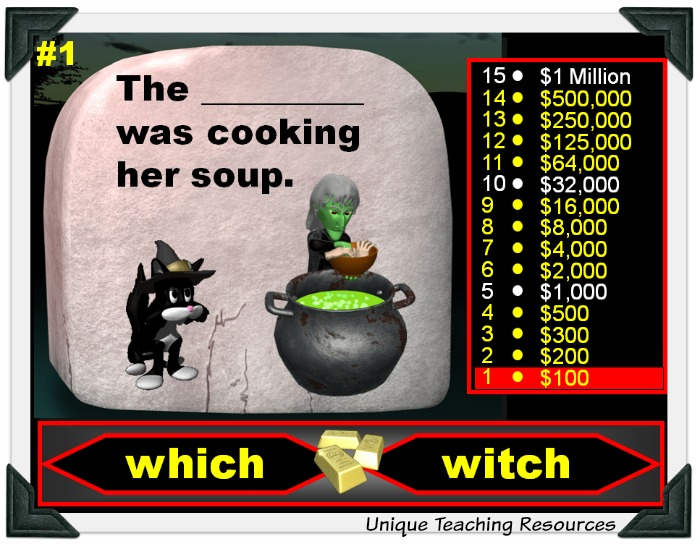 Who Wants To Be a Millionaire Game - Halloween Homophones Powerpoint Lesson