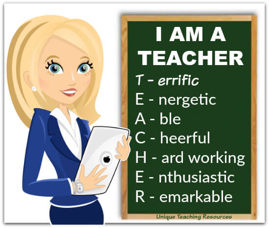 I am a teacher letters on chalkboard T.E.A.C.H.E.R.