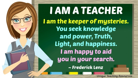 I am a Teacher. I am the keeper of mysteries. Frederick Lenz