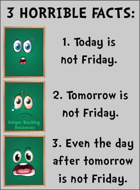 Funny quote 3 horrible facts about Monday