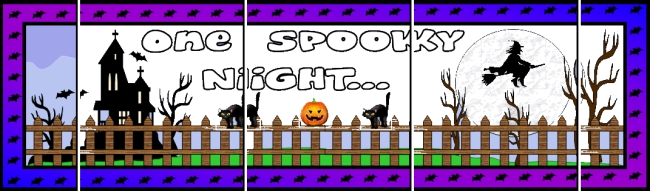 Assemble these 5 pages together to create a free One Spooky Halloween Night bulletin board display banner for your classroom.