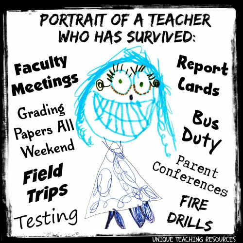 Funny portrait of a teacher who has survived