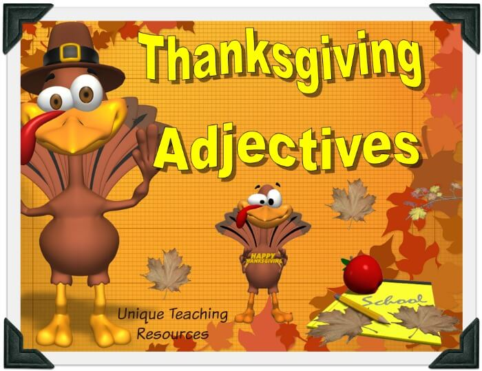 Review adjectives with your students using this fun Thanksgiving powerpoint.