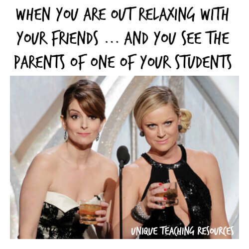 Funny teacher meme about seeing parents in public.