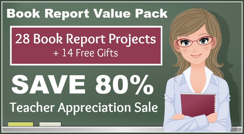 Teacher Appreciation Sale - Save 80% on a bundled set of 28 book report projects and 14 free gifts