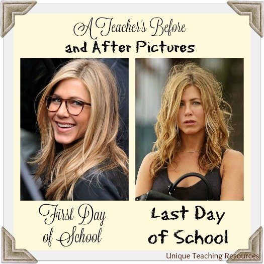 Teacher's Funny Before and After Pictures - First Day of School and Last Day of School