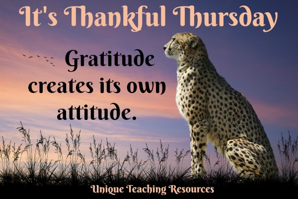 It's Thankful Thursday.  Gratitude creates its own attitude.