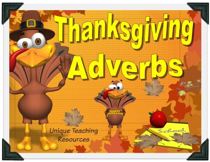 This is a fun Thanksgiving powerpoint presentation that reviews adverbs in an engaging game-like format.