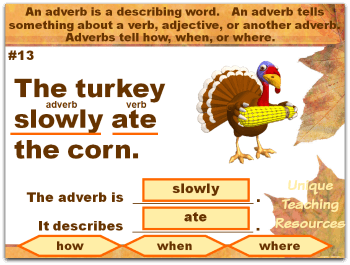 Thanksgiving powerpoint lesson that reviews adverbs.