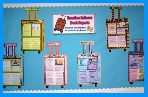 Main Character Vacation Suitcase Book Report Projects Bulletin Board Display