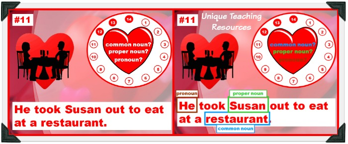 Valentine's Day Powerpoint Lesson:  common nouns, proper nouns, and pronouns