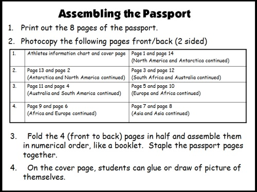 Amazing Reading Race Student Passport Directions