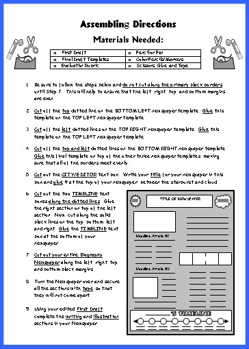 Biography Book Report Newspaper Student Directions Worksheet