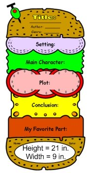 Cheeseburger Book Reports Templates and Graphic Organizer Measurements