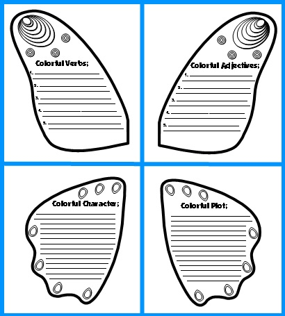 Butterfly Black and White Book Report Project Templates