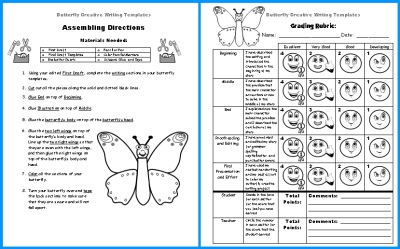 Butterfly Story Writing Templates Grading Rubric