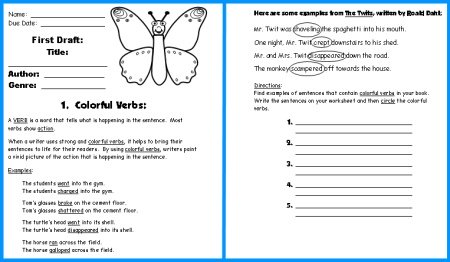 Butterfly Book Report Project First Draft Writing Worksheets