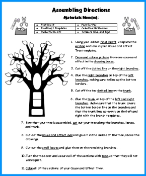 Book Report Project Assembly Directions Cause and Effect Tree