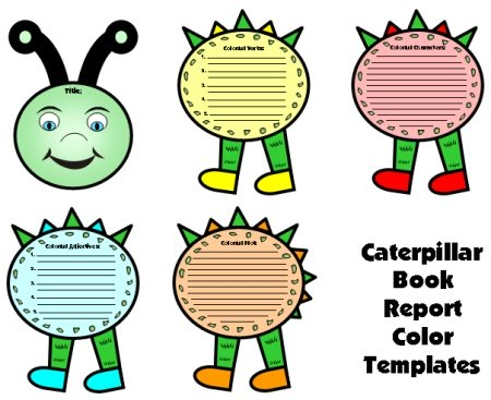 Caterpillar Book Report Project Templates and Worksheets and Lesson Plans