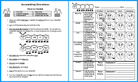 Caterpillar Creative Writing Grading Rubric and Assembling Directions