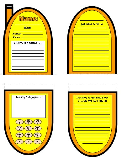 Cell Phone Book Report Projects Color Templates Examples and Ideas
