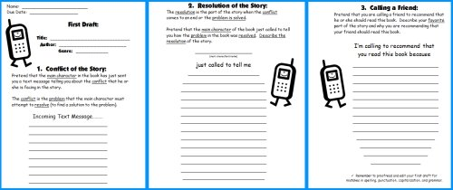 Cell Phone Book Report Project First Draft Writing Worksheets