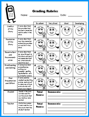 Cell Phone Book Report Projects Grading Rubric