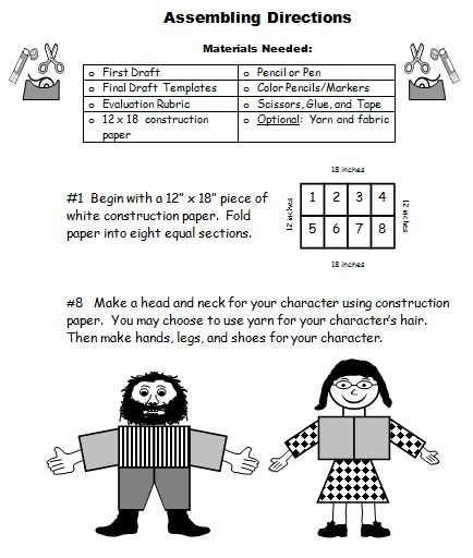 Elementary Teacher Directions for Making a Main Character Body Book Report Project