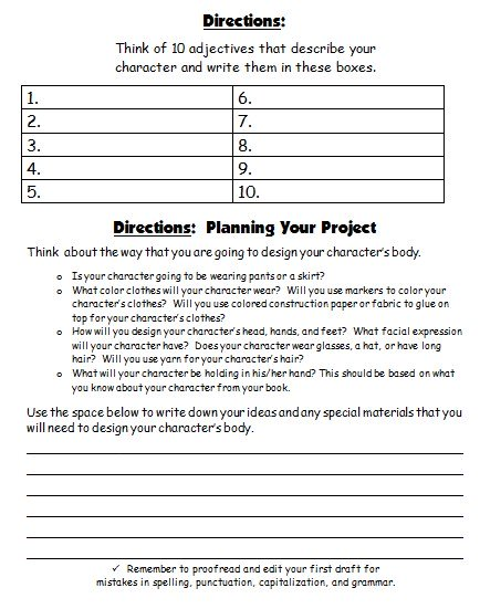 Main Character Book Report Projects Creative Writing Printable Worksheets