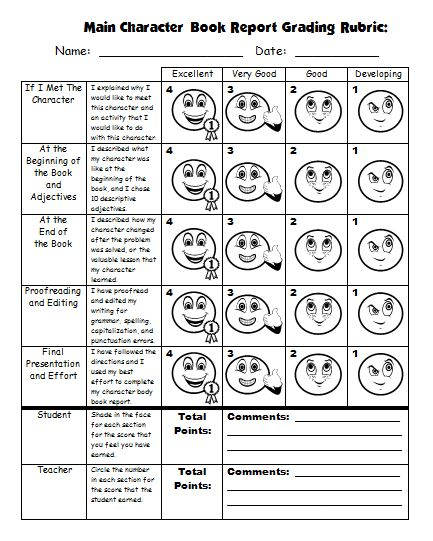 Grading Rubric Main Character Book Report Projects