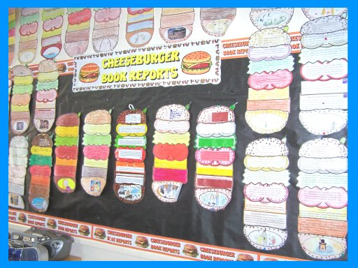Classroom Bulletin Board Display of Cheeseburger Book Report Projects