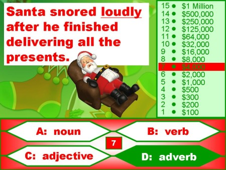 Christmas Parts of Speech Powerpoint Lesson Activity reviewing nouns, verbs, adjectives, and adverbs