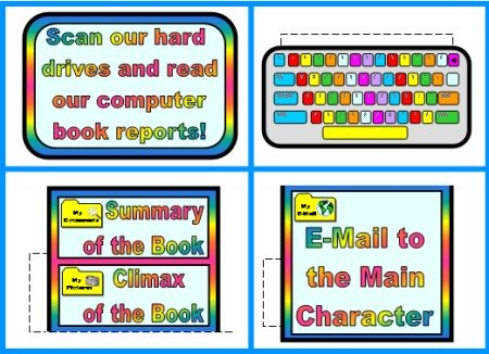Computer Bulletin Board Accent Pieces for Elementary Classroom Displays
