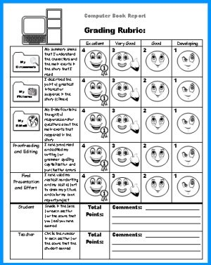 Computer Book Report Projects Grading Rubric