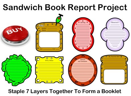 Sandwich book report project templates: bread, tomato, onion, lettuce, cheese, and meat