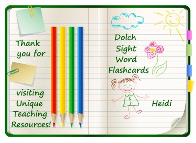 Download Free Dolch Sight Word Flashcards On Unique Teaching Resources