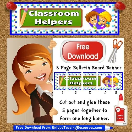 Download Free Classroom Helpers Bulletin Board Display Banner