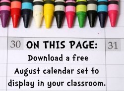 Download Free August Classroom Calendar Set