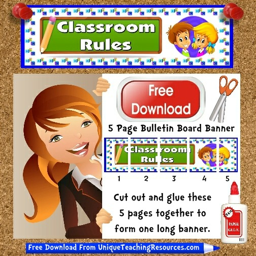 Download Free Classroom Rules Bulletin Board Display Banner