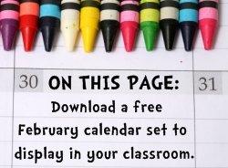 Download Free February Classroom Calendar Set
