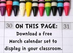Download Free March Classroom Calendar Set
