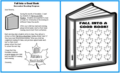Fall Into Reading Sticker Charts Parent Letter